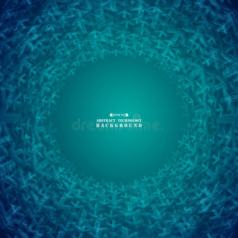 Blaue Pfeile der abstrakten futuristischen Steigung formen Technologiekreis vektor abbildung