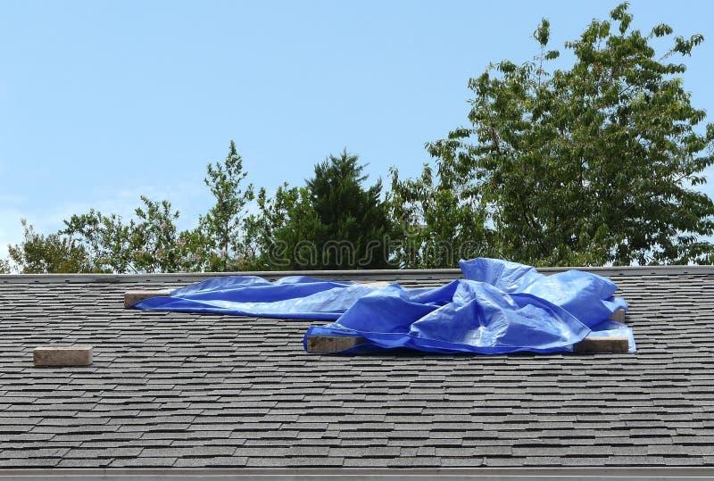 Blaue Plane, die Wohndach-Leck umfasst stockfoto