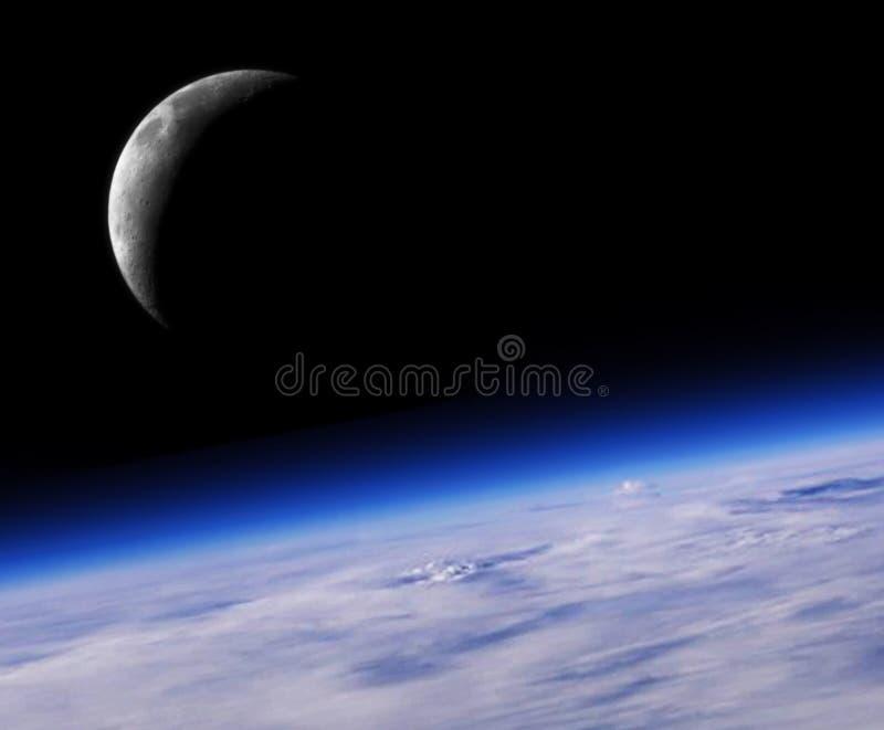 Blaue Planeten-Erde und Halbmond stockfotografie