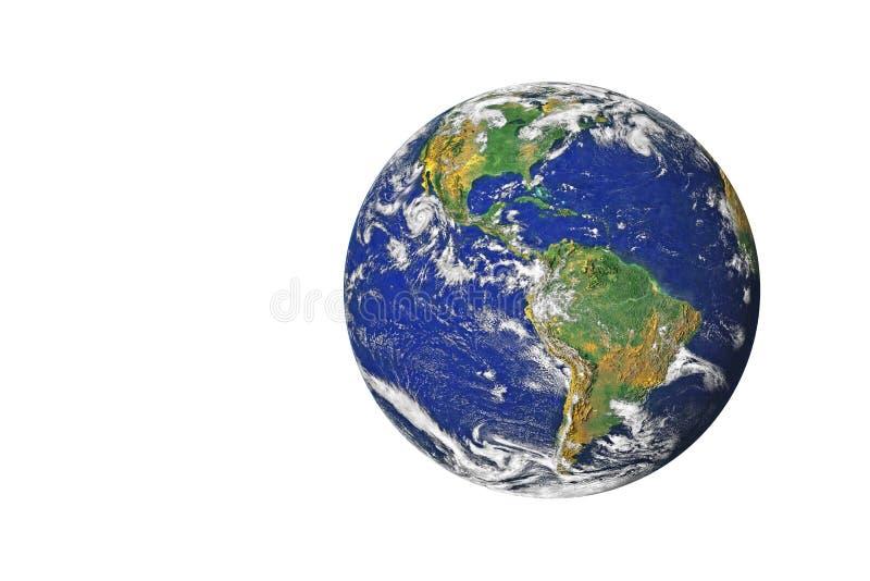 Blaue Planeten-Erde vom Raum, der Norden u. Südamerika, USA zeigt stock abbildung