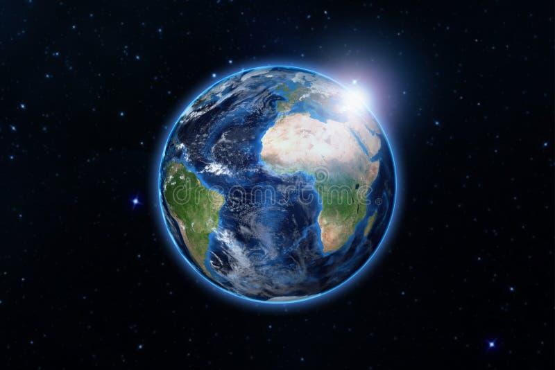 Blaue Planetenerde vom Raum, der Amerika und Afrika, USA, Kugelwelt mit blauem Glühenrand und heller Sonnenaufgang der Sonne auf  stock abbildung