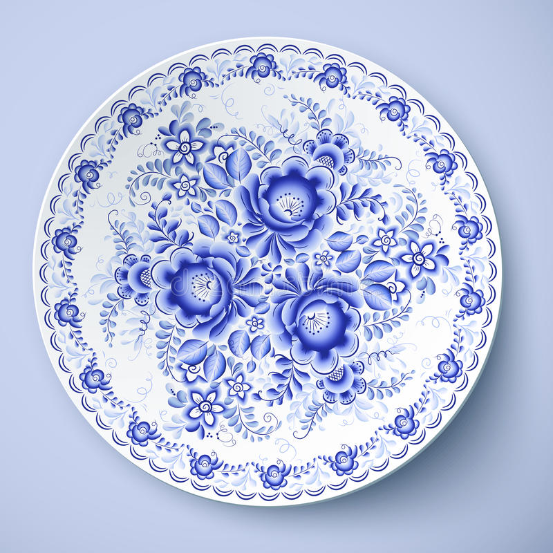 Blaue Platte mit Blumenverzierung in gzhel Art stock abbildung