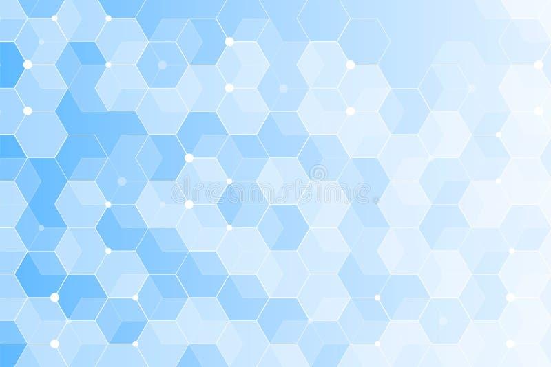 Blaue polygonale Fahne Abstrakter gesunder und medizinischer Hintergrund Technologie- und Wissenschaftstapetenschablone stockfotos