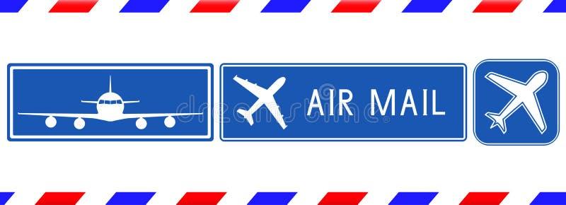Blaue Poststempel Luftpost-Quadratzeichen mit Flugzeug lizenzfreie abbildung