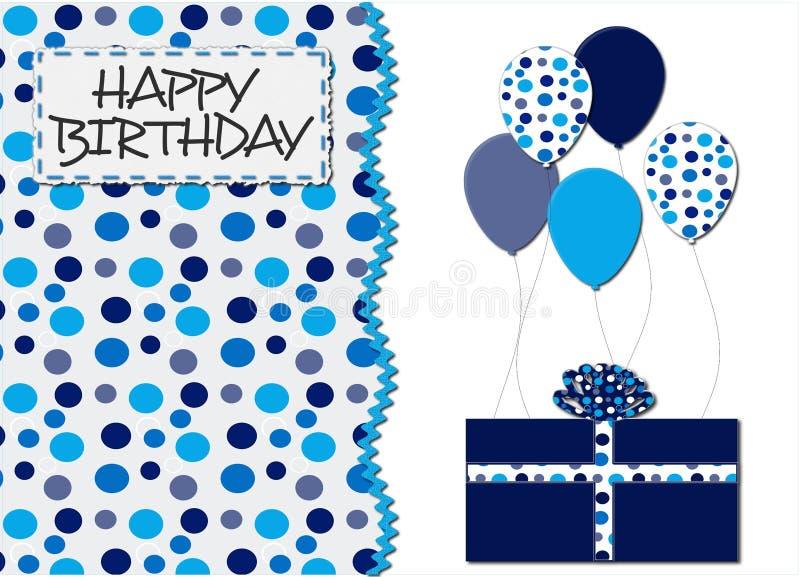 Blaue Punkte und Ballon-Geburtstag-Karte lizenzfreie stockbilder