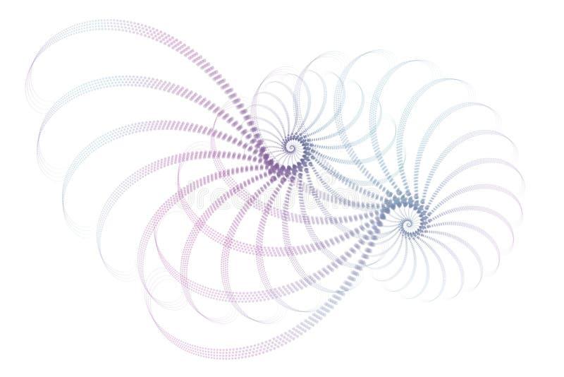 Blaue purpurrote weiße Fractal-Auszugs-Auslegung stock abbildung