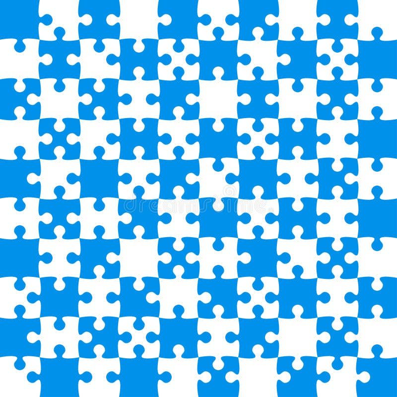 Blaue Puzzlespiel-Stücke - zackiger Vektor - Feld-Schach stock abbildung