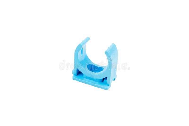 Blaue PVC-Wasserversorgungs-Rohrschellen-Klipp-Installationen lizenzfreies stockfoto