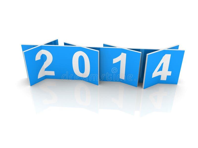 Blaue Quadrate mit neuen 2014-jährigen Zahlen vektor abbildung