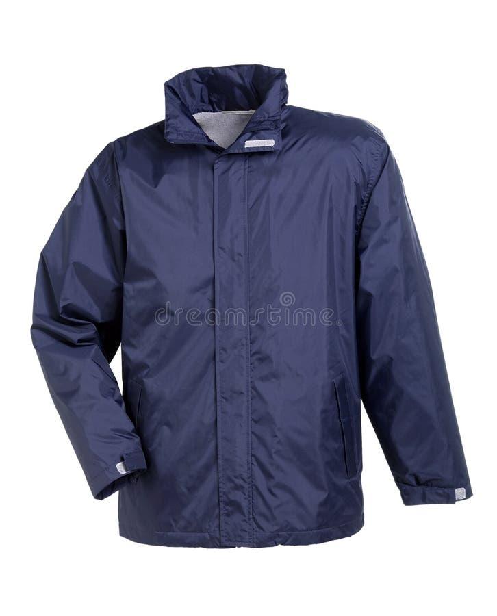 Blaue Regen-Jacke lizenzfreies stockfoto