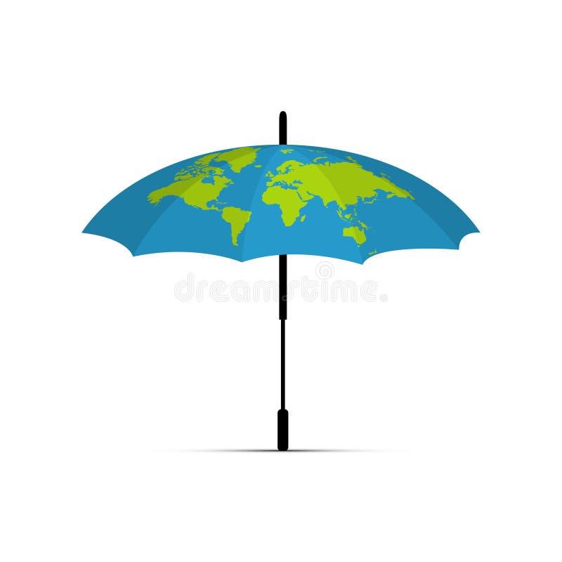 Blaue Regenschirmikone Die Zeichnung der Erde auf dem Regenschirm Auch im corel abgehobenen Betrag stock abbildung