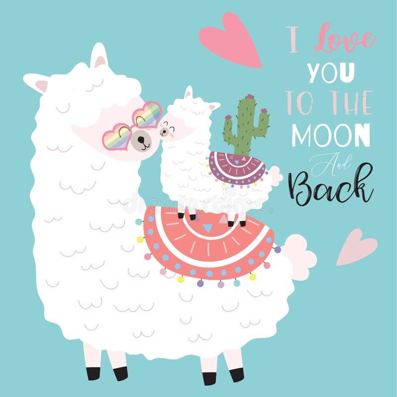 Blaue rosa Handgezogene nette Karte mit Lama, Blume, Herz Ich liebe dich zum Mond und zur Rückseite stock abbildung