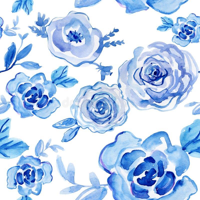 Blaue Rosen Aquarell handgemalt, Weinleseillustration stock abbildung