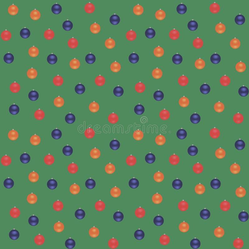 Blaue, rote, orange Weihnachtsbälle auf einem grünen Hintergrund Nahtloses vektormuster vektor abbildung