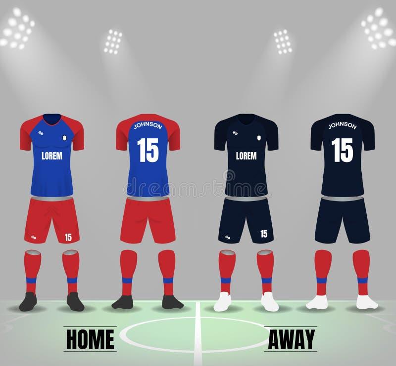 Blaue rote und schwarze Fußballuniform in der vorderen und Rückseite stock abbildung
