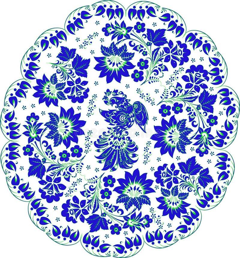 Blaue runde Dekoration mit Vogel stock abbildung