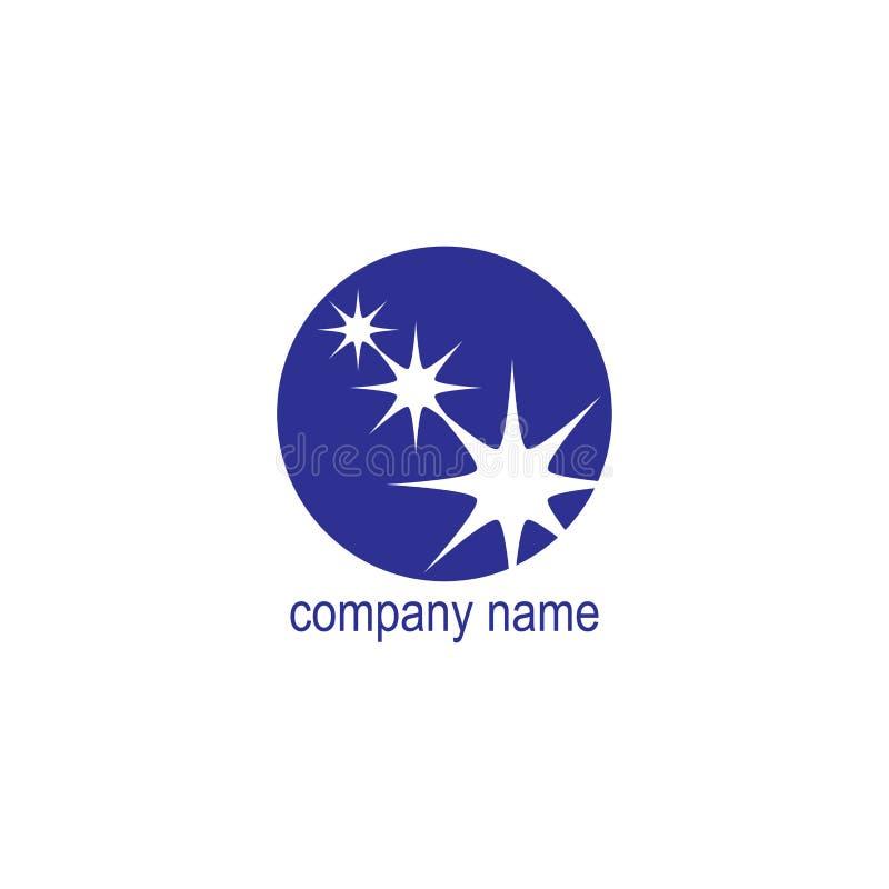 Blaue Runde des Firmenlogos mit weißen Sternen, Vektor lizenzfreie abbildung