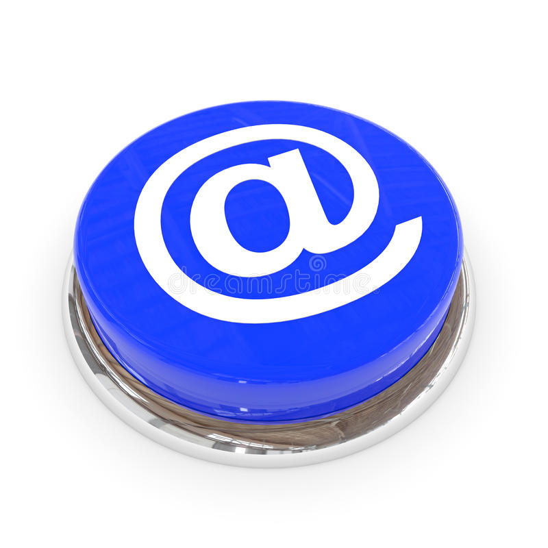 Blaue runde Taste mit EMAIL-Zeichen. stock abbildung