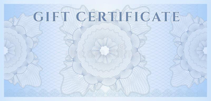Blaue Schablone des Geschenkgutscheins (Beleg). Muster lizenzfreie abbildung