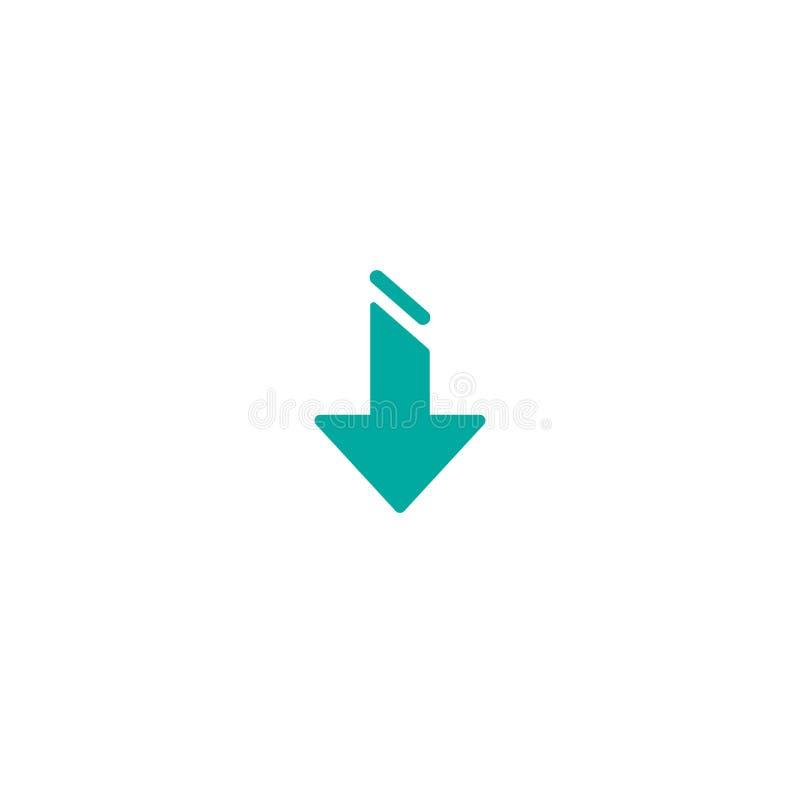Blaue scharfe des Pfeiles Ikone unten Herunterladen der flachen Ikone Lokalisiert auf Weiß lizenzfreies stockbild
