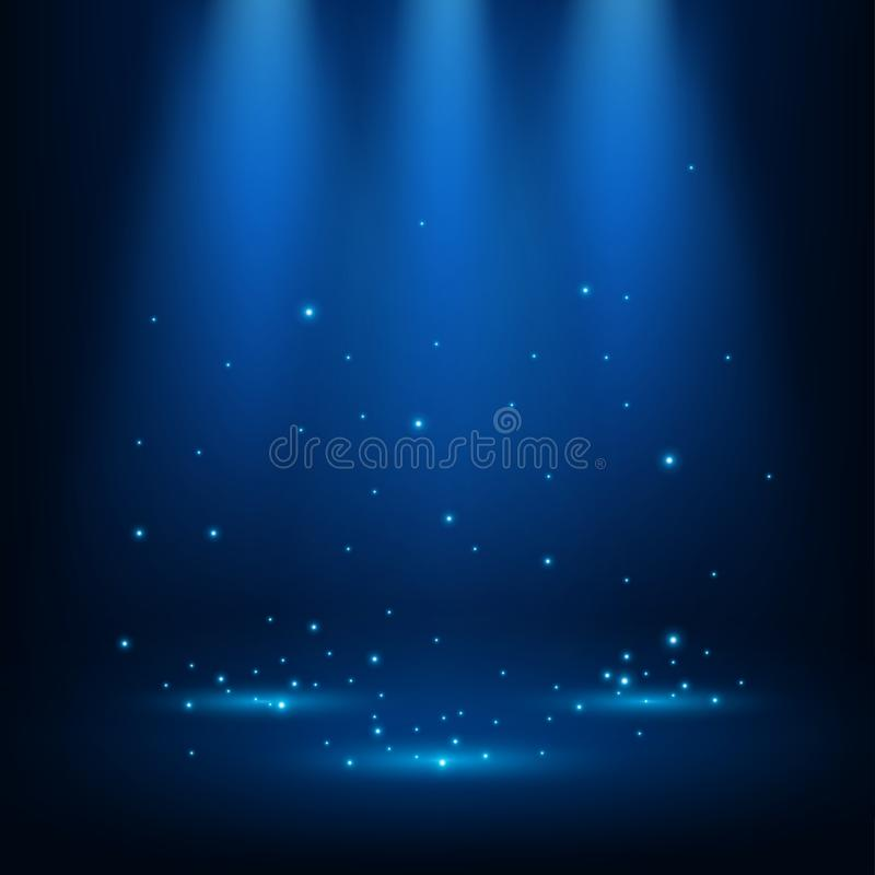 Blaue Scheinwerfer, die mit Scheinen glänzen stock abbildung