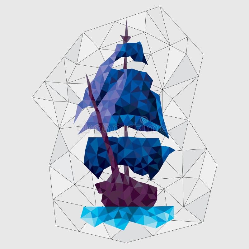 Blaue Schiffskonstellation in der polygonalen Art lowpoly in der Art lizenzfreie abbildung