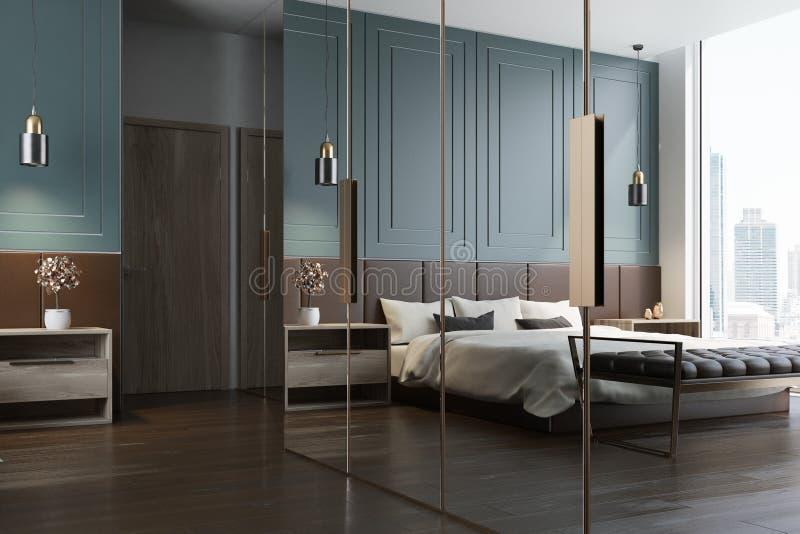 Blaue Schlafzimmerinnenraumreflexion stock abbildung