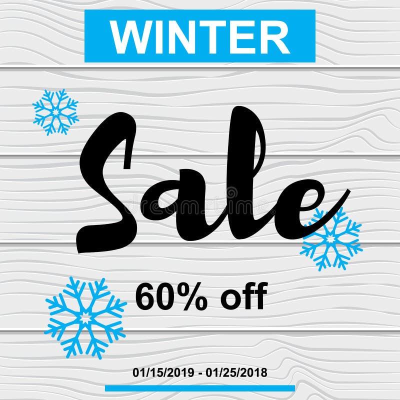 Blaue Schneeflocke des Verkaufsfahnen-Winters auf hölzerner Beschaffenheit stock abbildung