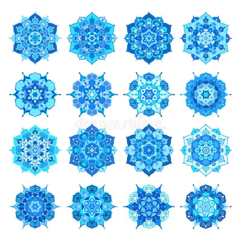 Blaue Schneeflocken-Blumen-Mandalen lizenzfreie abbildung