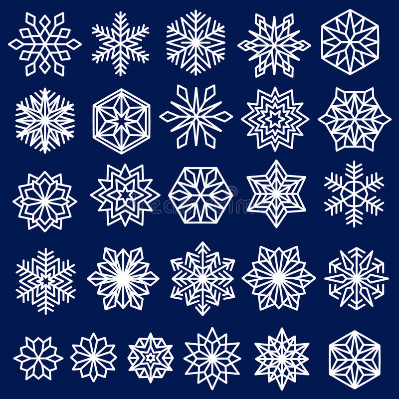 Blaue Schneeflocken eingestellte Linie Design lizenzfreie abbildung