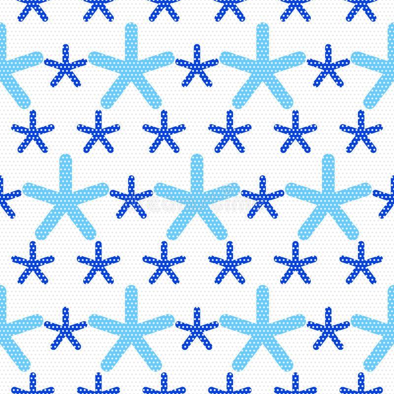Blaue Schneeflocken gemasert mit grauen Punkten stock abbildung