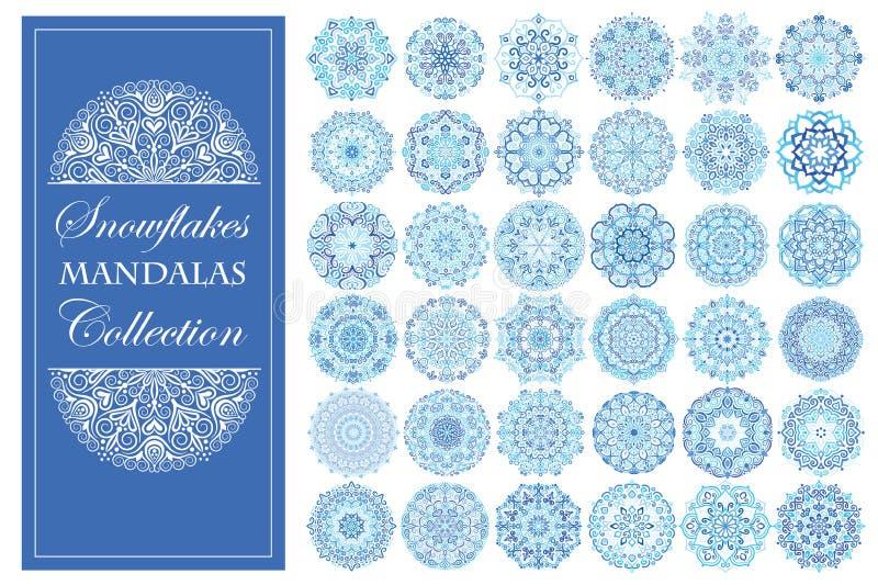 Blaue Schneeflocken-Mandalen eingestellt lizenzfreie abbildung