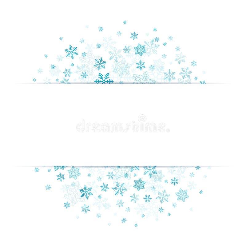 Blaue Schneeflocken mit Fahne in der Mitte lizenzfreie abbildung