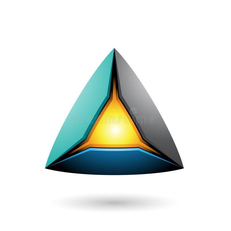 Blaue schwarze und grüne Pyramide mit einer glühenden Kern-Vektor-Illustration lizenzfreie abbildung