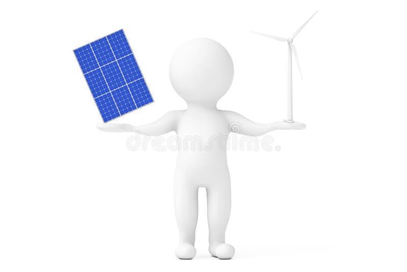 Blaue Solarzellen-Muster-Platte mit der Windkraftanlage-Windmühle, die persönlich Charakter-Hände balanciert Wiedergabe 3d vektor abbildung