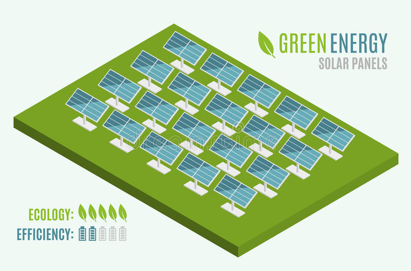 Blaue Sonnenkollektoren Flaches Netz 3d isometrisch Moderne alternative Eco-Grün-Energie vektor abbildung