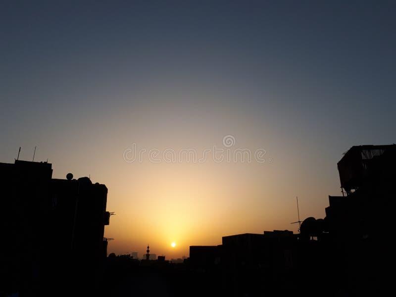 Blaue Sonnenuntergänge im alten cauro stockfotos