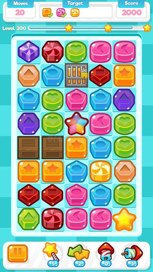 Blaue Spiel-Anlagegüter des Süßigkeits-Match-drei vektor abbildung
