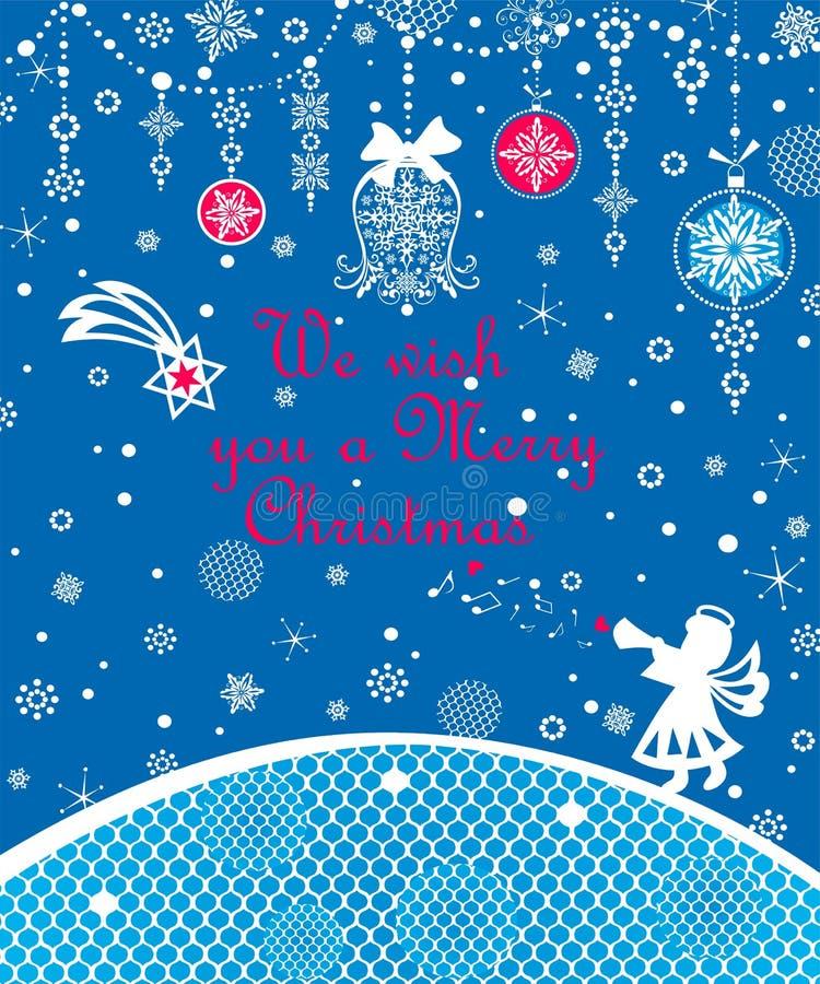 Blaue Spitzen- Karte Weihnachtsgrußes mit dem Weißbuch des Handwerks, das wenig Engel, Weihnachtsstern, Schneeflocken schneidet u lizenzfreie abbildung
