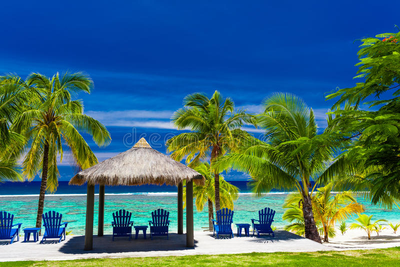 Blaue Stühle auf einer Strandfront von einer Insel mit Palmen lizenzfreie stockbilder