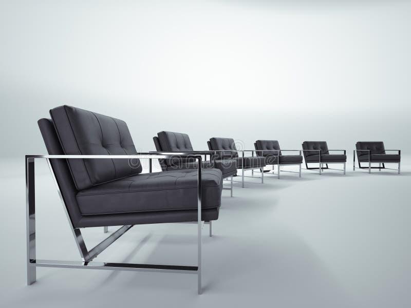 Blaue Stühle und hölzerne Tabelle Gespräch und Diskussion lizenzfreies stockfoto