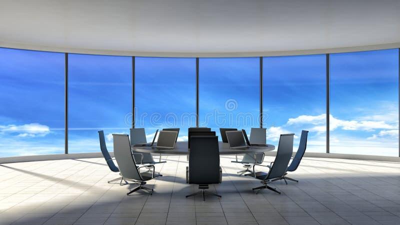 Blaue Stühle und hölzerne Tabelle Modernes Büro mit Fenstern Abbildung 3D vektor abbildung