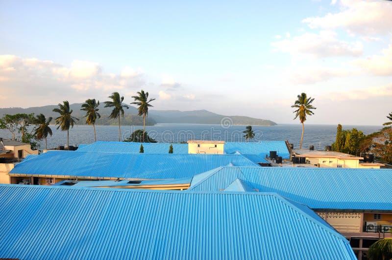 Blaue Stahlhäuser lizenzfreies stockfoto