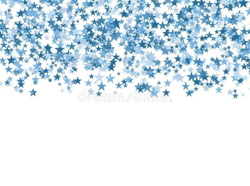 Blaue Sterne, die vom Himmel auf weißem Hintergrund fallen entziehen Sie Hintergrund stock abbildung