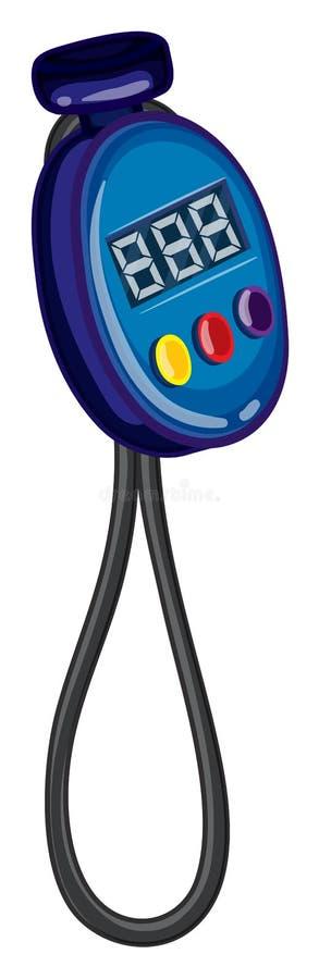 Blaue Stoppuhr mit Schnur vektor abbildung