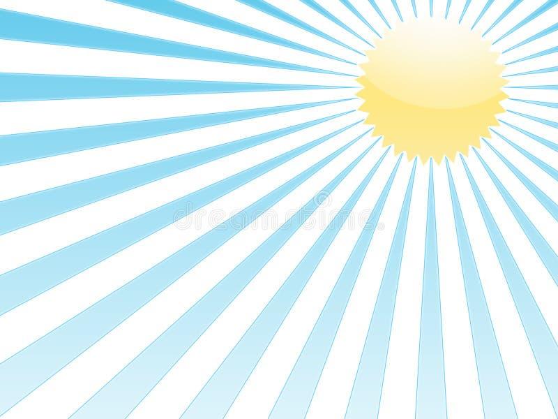 Blaue Strahlen und gelbe Sonne vektor abbildung