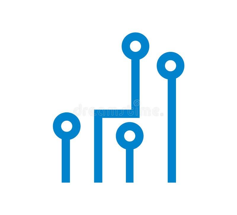 Blaue Stromkreise auf weißem Hintergrund stock abbildung