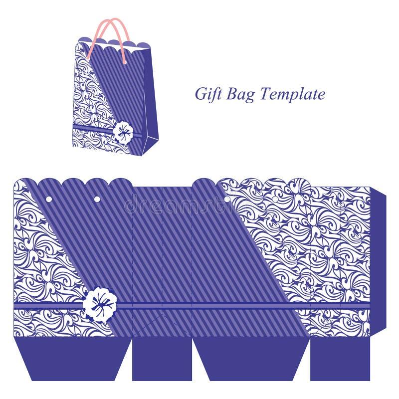 Blaue Tasche mit Streifen und interessantem Muster vektor abbildung