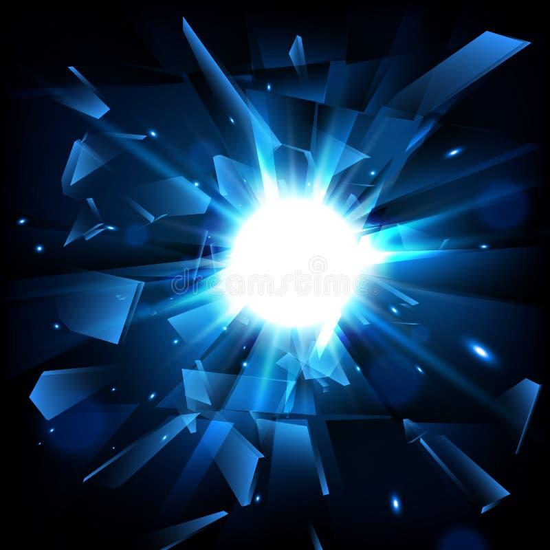Blaue techno Art-Vektorexplosion Trümmer-Glas Auch im corel abgehobenen Betrag stock abbildung