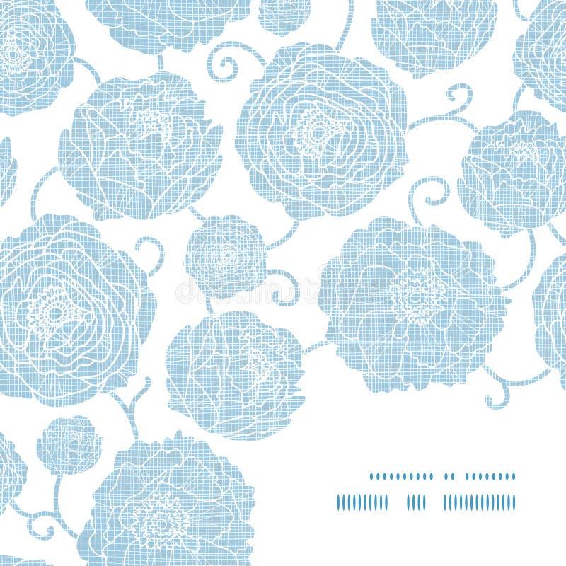 Blaue Textilpfingstrose blüht Rahmeneckenmuster vektor abbildung